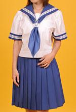 K020121半袖セーラー上着単品に茄子紺の衿袖パーツを付け替え+A025813無地プリーツスカート(茄子紺)+紺スカーフ