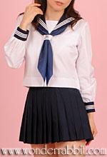 K020131夏用セーラー服上下セット(長袖) ※写真はスカートミニ丈加工しています